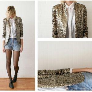 Zara gold sequined blazer